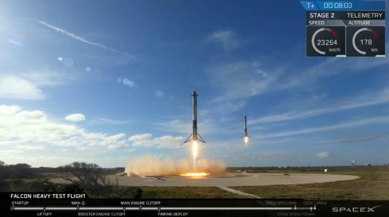 Falcon Heavy's side boosters landing side-by-side.