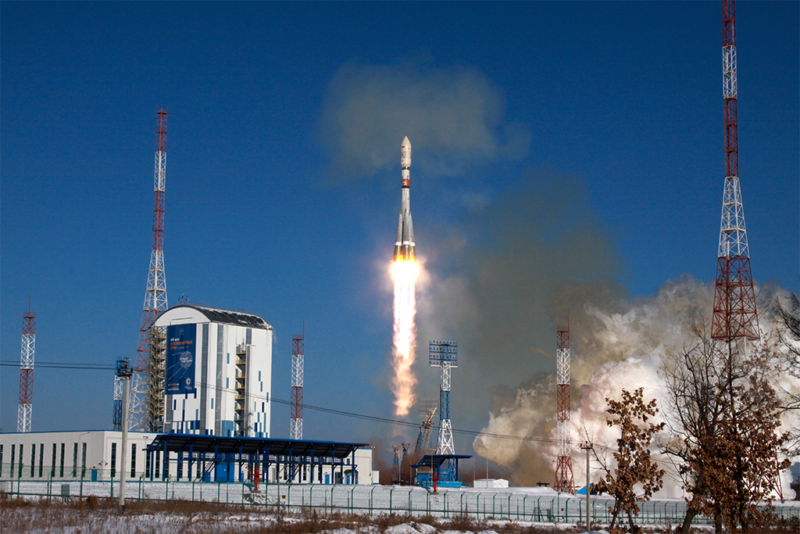 A Soyuz rocket launches two Kanopus 5 satellites from Vostochny Cosmodrone on Feb. 1. Photo: Roscosmos.
