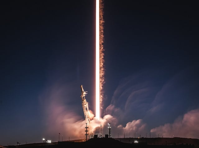 A long exposure photograph of Falcon 9 launching the first two test satellites for its Starlink broadband constellation, as well as a Spanish SAR satellite called Paz on February 22, 2018.