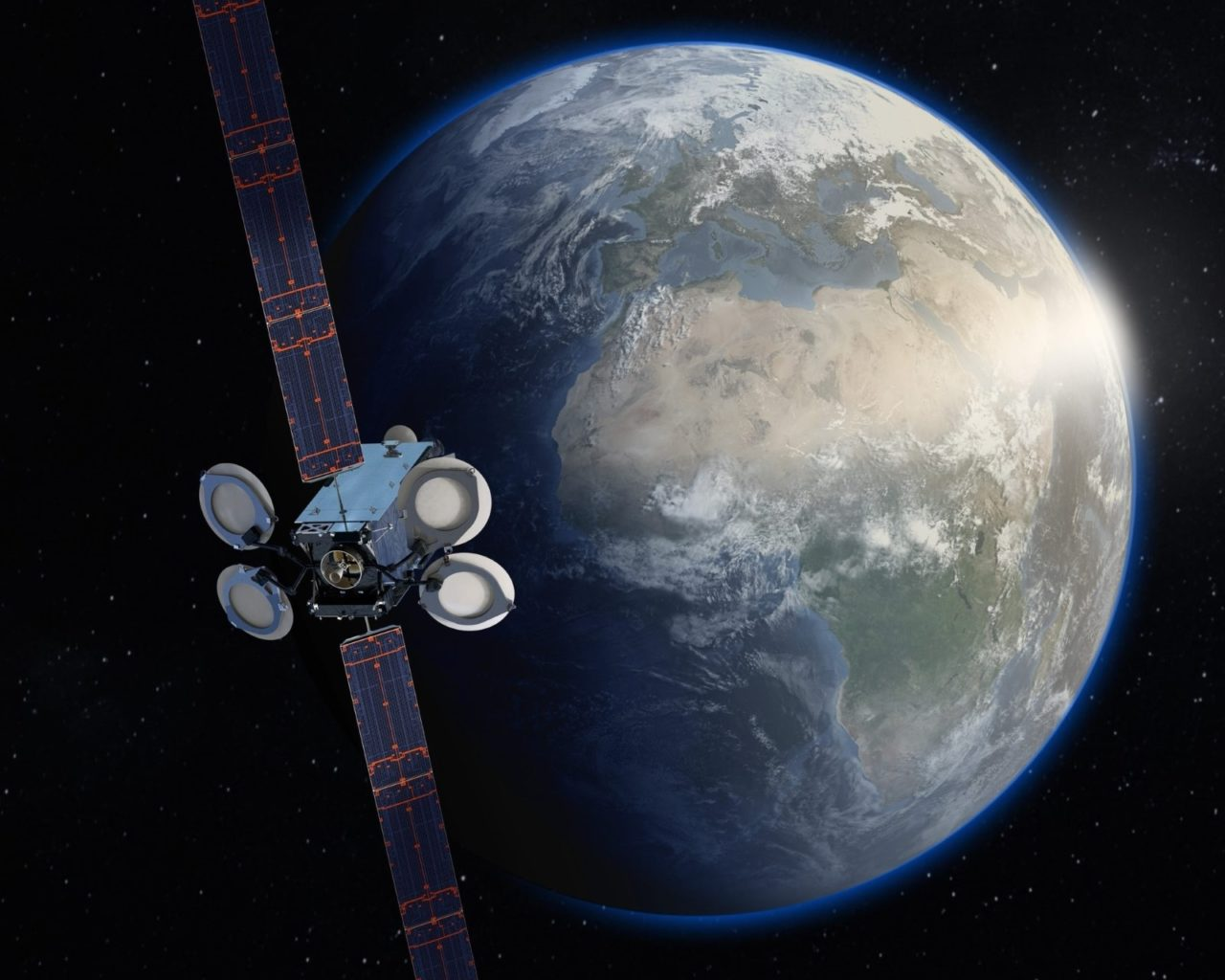 Artist's rendition of the Amos-17 satellite based on the BSS-702MP bus. Image Credit: Boeing
