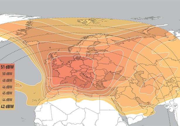 Eutelsat 9b's Ku-band widebeam coverage over MENA region. Photo: Eutelsat.