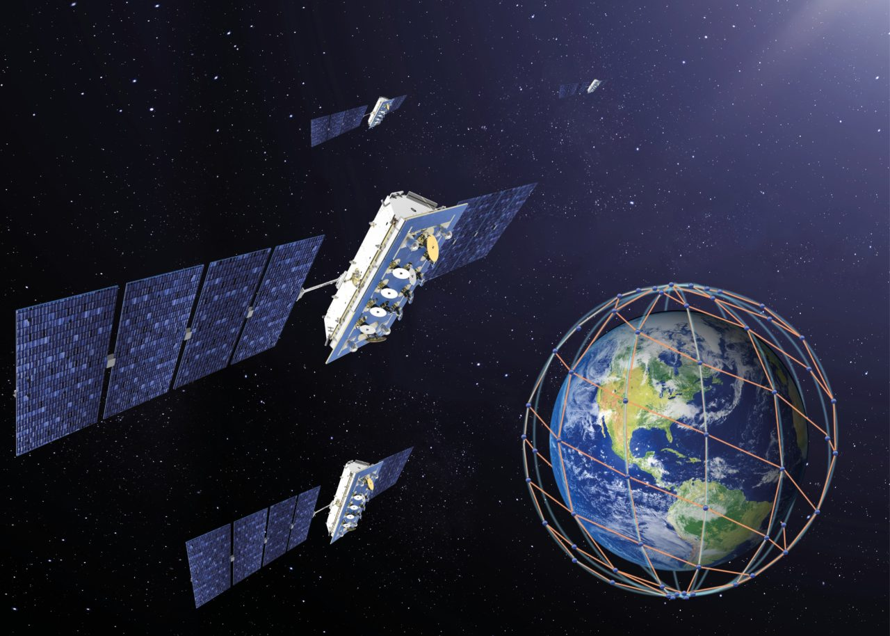 Rendition of the LeoSat constellation in orbit. Photo: Thales Alenia Space.