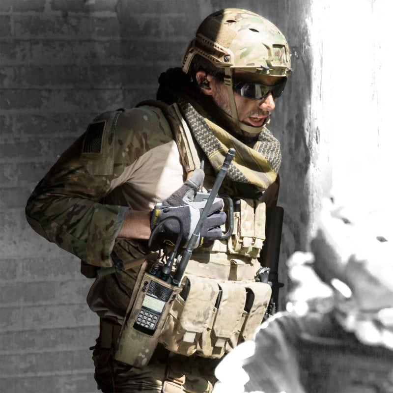 A soldier equipped with Harris' Falcon 3 radio. Photo: Harris Corp.
