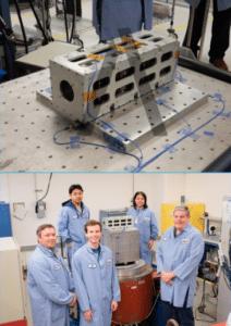 Audacy's engineering team poses with the Audacy Zero satellite. Photo: Audacy.