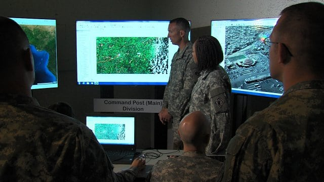 U.S. Army geospatial engineers prepare maps for a humanitarian mission in Liberia, where the Army is assisting in Ebola outbreak relief efforts.Photo: U.S. Army.