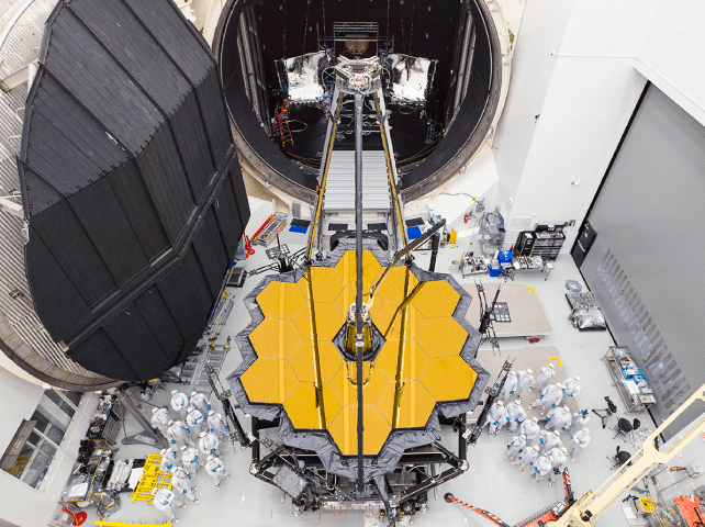 JWST components emerging from a testing chamber. Photo: NASA.