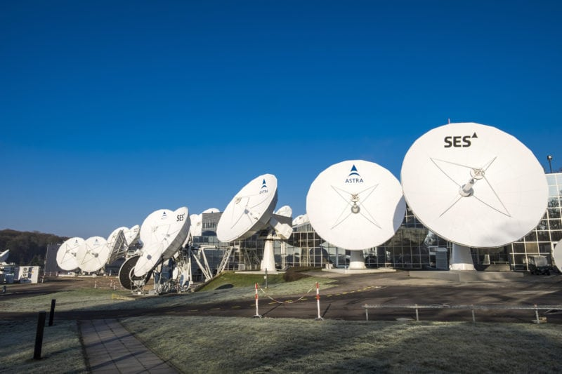 SES antennas at the satellite operator's headquarters in Luxembourg. Photo Credit: SES