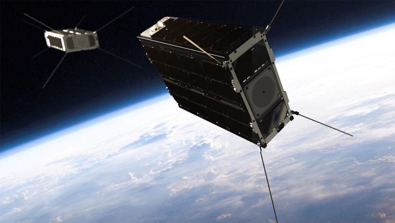 Rendition of GomSpace's GOMX 4 satellites on orbit. Photo: GomSpace.