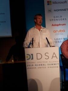 Rob Henley, partner at Prescient, speaking at the Dynamic Spectrum Alliance Summit 2018. Photo: DSA