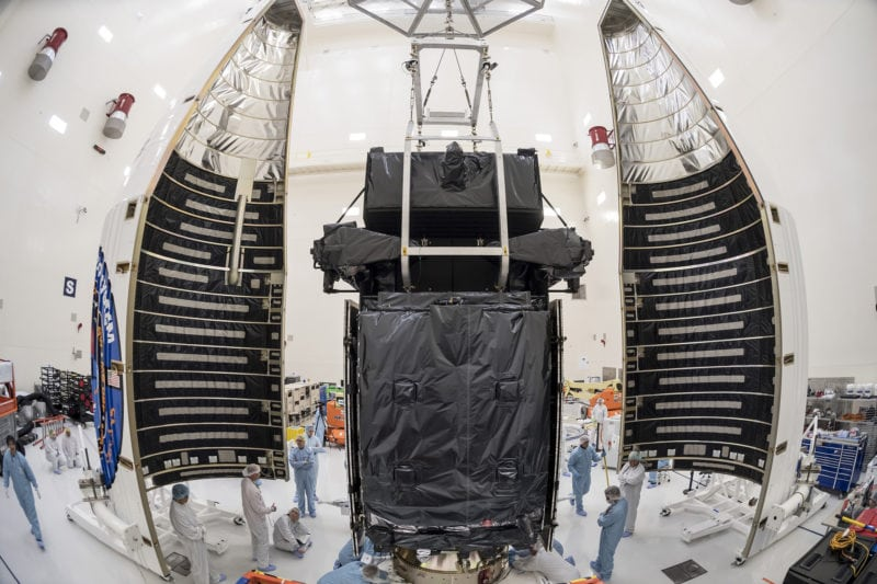The US Air Force's SBIRS GEO Flight-4 satellite, built by Lockheed Martin, completed encapsulation on January 9, 2018. Photo Credit: Lockheed Martin