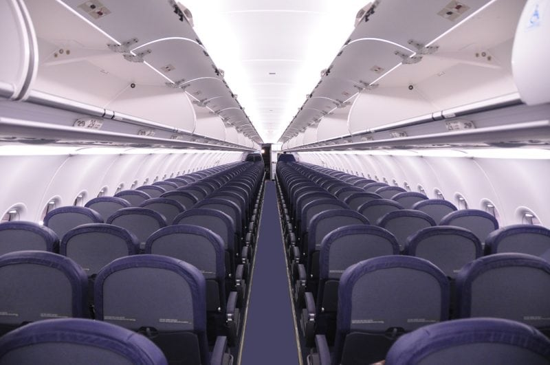 The interior of a Spirit Airlines A320.