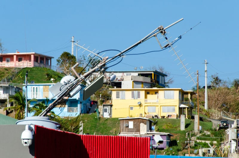 The strong winds of the Category 5 storm Hurricane Irma bent the control tower's antenna and knocked out communications at the Aeropuerto De Culebra in Puerto Rico. Photo: FEMA/K.C. Wilsey Sep. 11, 2017.