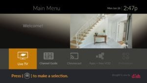 Dish TVs Evolve Menu Screen