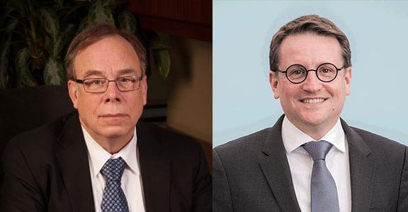 EchoStar CEO Michael T Dugan and Eutelsat CEO Rodolphe Belmer