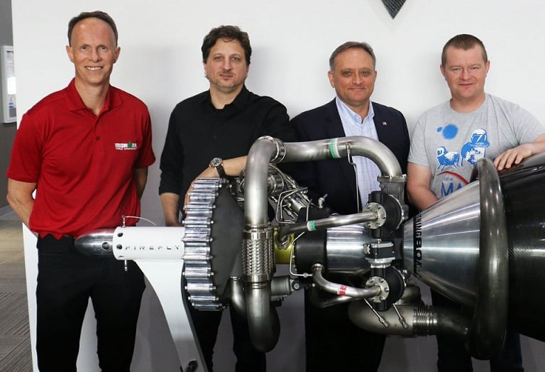 From left Firefly director Mark Watt, Firefly CEO Tom Markusic, Firefly vice president of business development Les Kovacs, and Firefly co-founder Max Polyakov. Photo Credit Firefly Aerospace
