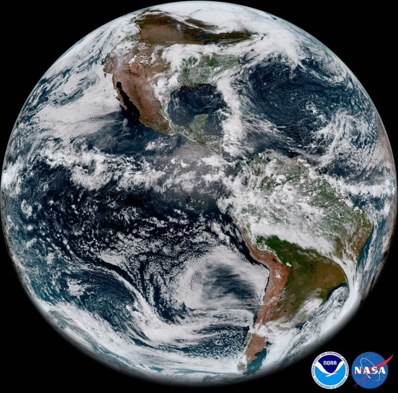 Full-disk snapshot of Earth's Western Hemisphere captured by GOES-17 using the Advanced Baseline Imager