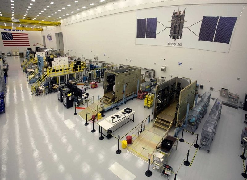 GPS III satellites in production at Lockheed Martin's GPS III Processing Facility near Denver