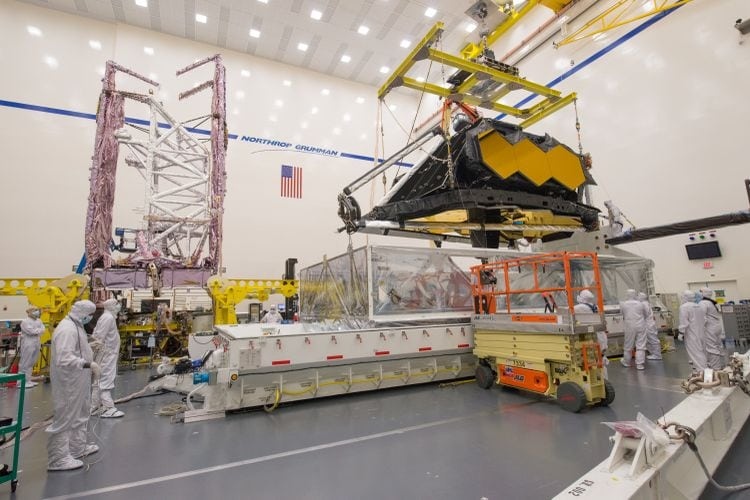 NASA's James Webb Space Telescope's two halves are powered for the first time. Image credit: Northrop Grumman