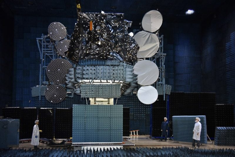 Telstar 19 Vantage HTS shown in antenna testing at SSL in Palo Alto, California. Photo: CNW Group/Maxar Technologies