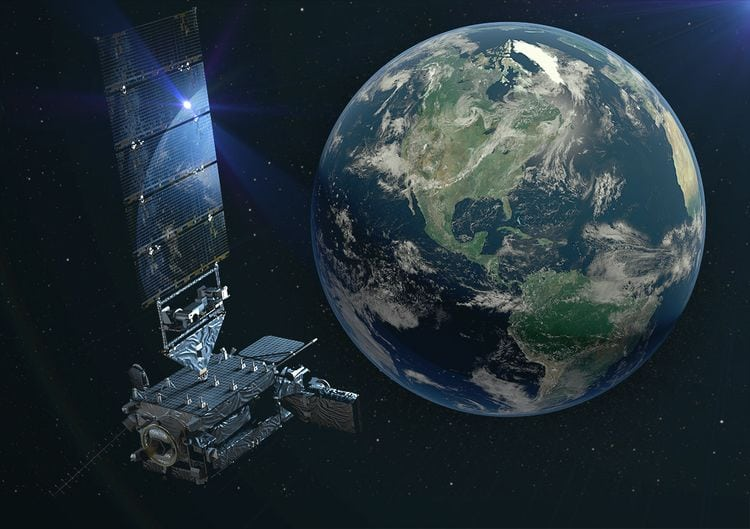 Artist's rendering of a GOES-17 satellite in space. Photo: Lockheed Martin.
