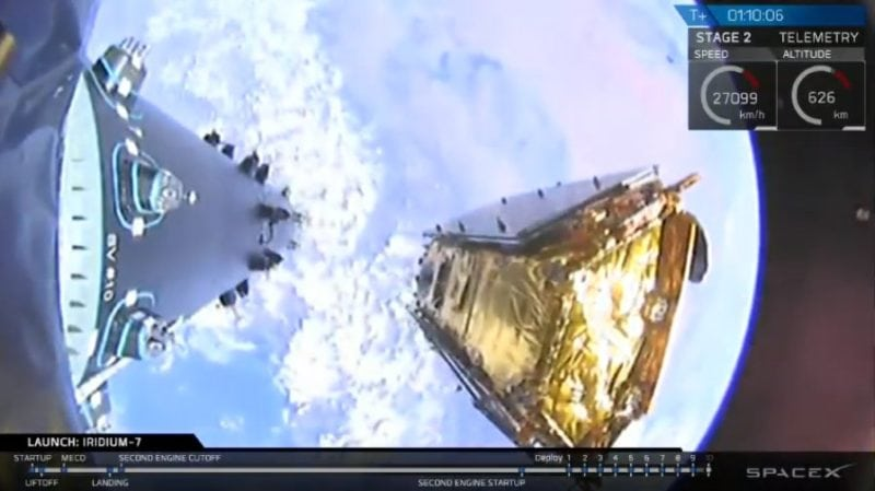 Deployment of an Iridium Next satellite, holding Aireon ADS-B payloads, off of a SpaceX Falcon 9 rocket. Photo: SpaceX
