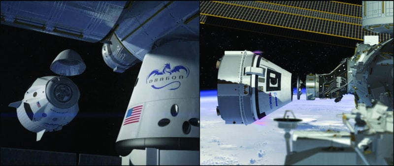 NASA's Commercial Crew Program is working with the American aerospace industry as companies develop a new generation of spacecraft and launch systems to carry crews safely to and from low-Earth orbit – the SpaceX Crew Dragon and Boeing CST-100 Starliner.