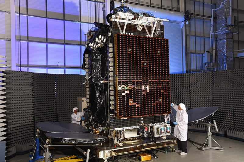 Hylas-4 at Orbital ATK's satellite manufacturing facility in Dulles, Virginia. Photo: Business Wire