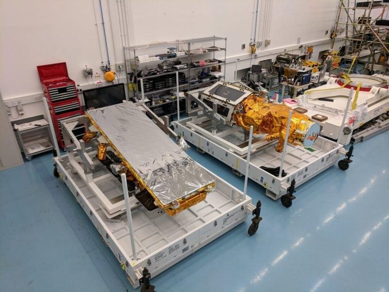 NovaSAR-1 and SSTL S1-4 in flight cases at SSTL, August 2018. Photo: SSTL
