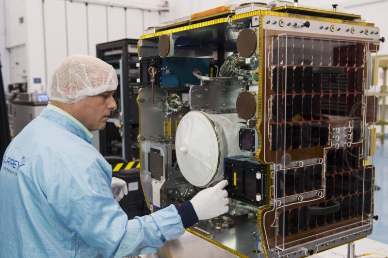 RemoveDEBRIS spacecraft during final assembly at SSTL. Photo: SSTL/Max Alexander