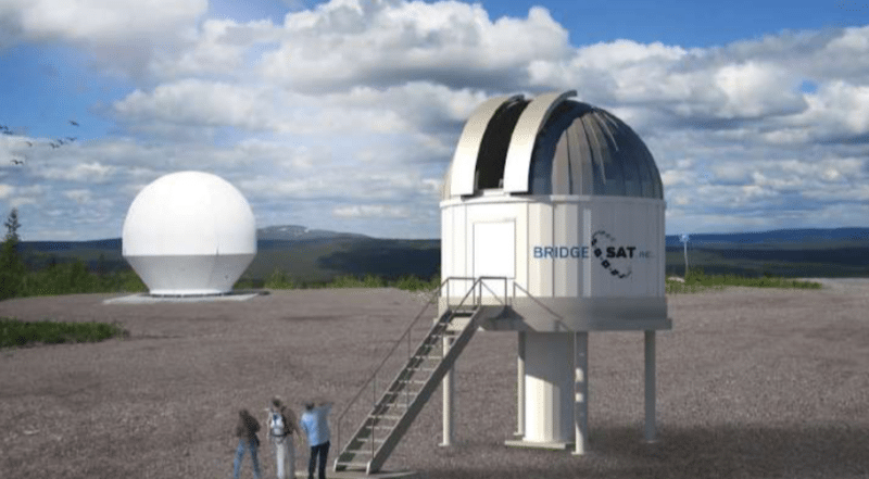 Artist rendition of a BridgeSat optical satellite ground station. Credit: BridgeSat