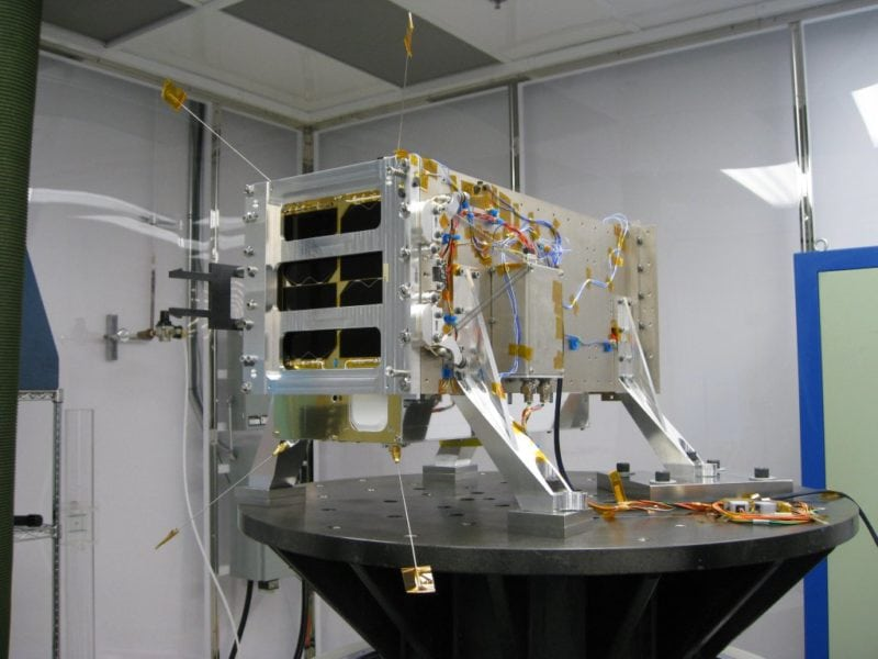 GHGSat's Claire satellite during vibration testing, ahead of launch. Source: GHGSat