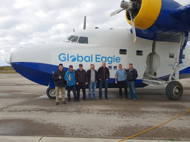 Gilat, Global Eagle, and Telesat engineers with the IFC over LEO test plane in Canada. Photo: Gilat