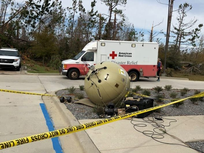 A GATR system set up at the Bay County Fire Department in Youngstown, Florida provided internet connectivity for first responders. Photo: Cubic