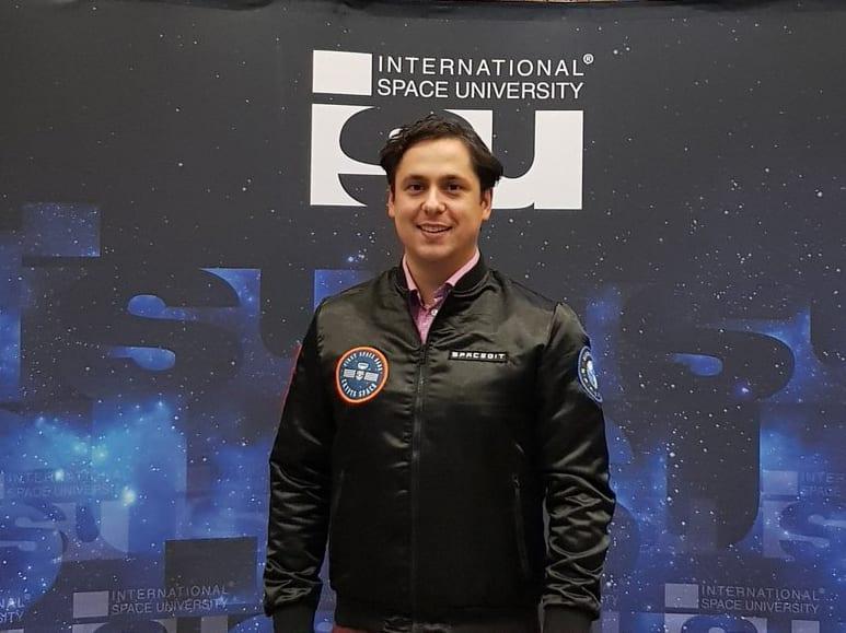 Spacebit CEO Pavlo Tanasyuk at Moon Village conference at the International Space University in Strasbourg. Photo: Twitter