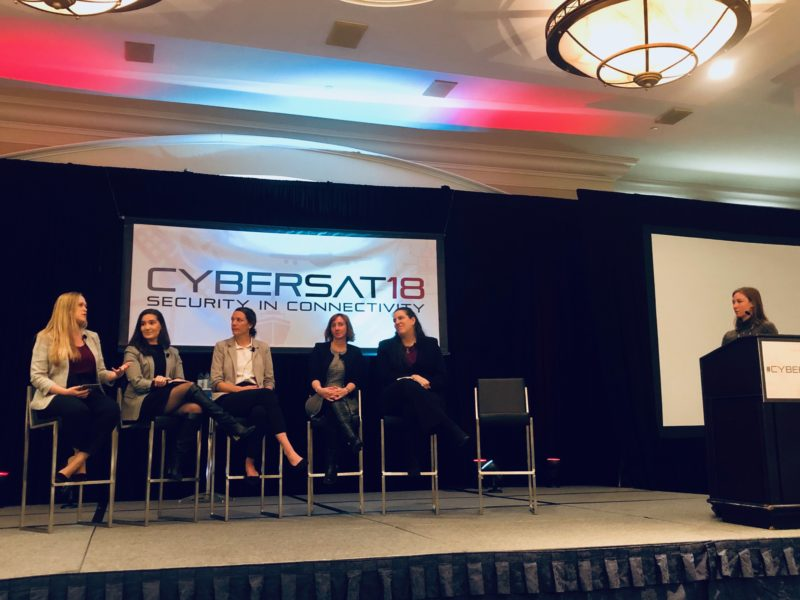 Interconnectedness in the 21st century: Women in Cyber and Space Discuss Realities and Practicalities panel at Cybersat 2018. Photo: Annamarie Nyirady