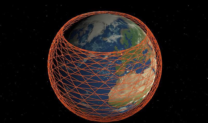 Starlink visualization. Photo: Mark Handley, University College London