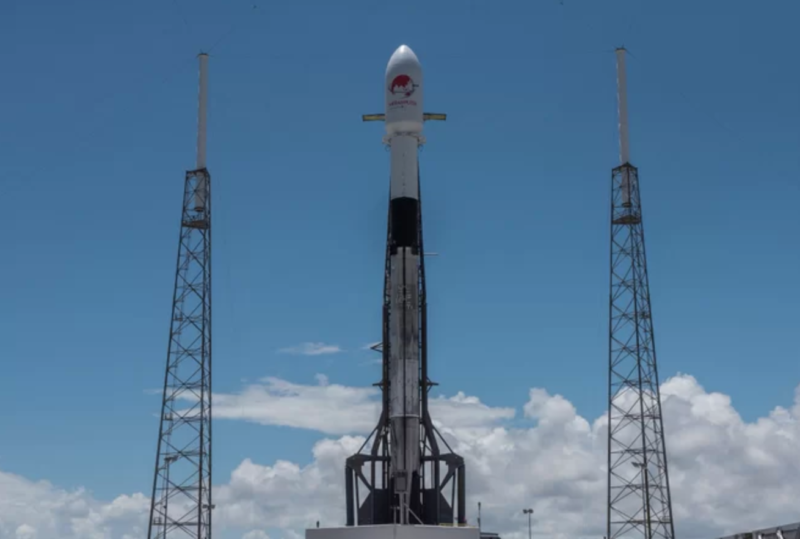 SpaceX's first Block 5 Falcon 9 rocket booster stands on the launch pad at Cape Canaveral Air Force Station in Florida ahead of its second mission on Aug. 6, 2018. Photo: SpaceX