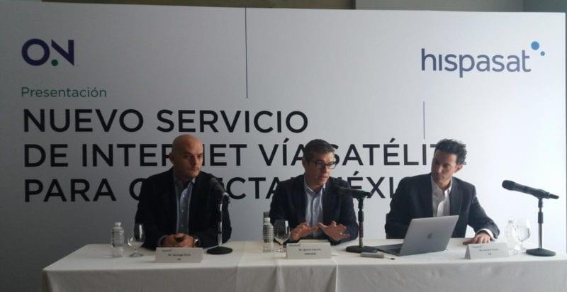 ON's Santiago Ennis, Hispasat's Ignacio Sanchis, and ON's Lorenzo Orozco (left to right). Photo: Hispasat