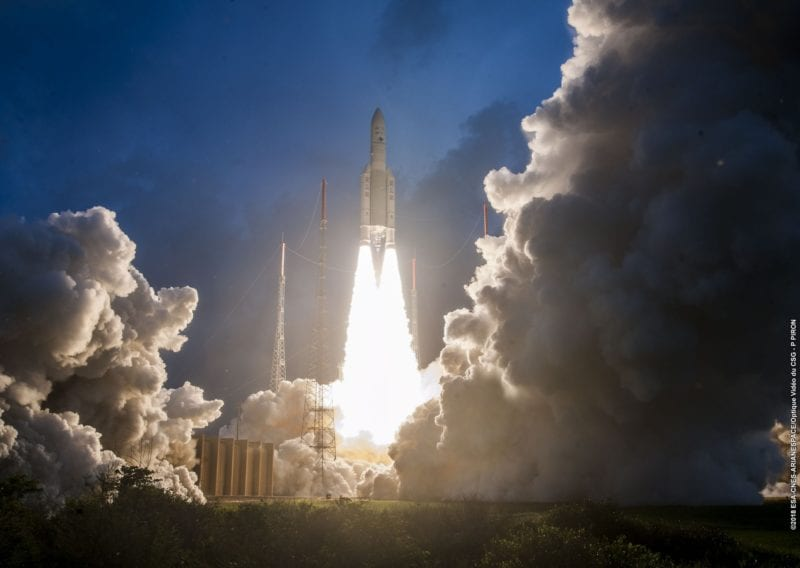 An Ariane 5 launch, carrying ISRO's GSAT-11 satellite. Photo: Arianespace