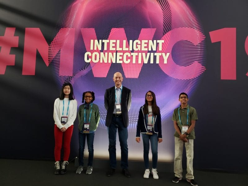 Young entrepreneurs who spoke during the morning keynote on day 3 of Mobile World Congress 2019 in Barcelona. Photo: Simon Segars