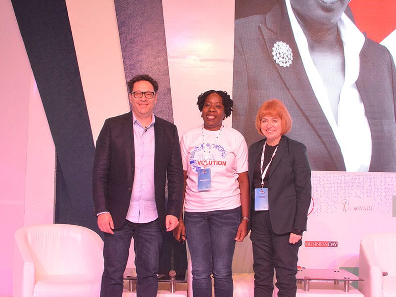 (Left to right) Toby Shapshak, Keynote Speaker; Funke Opeke, CEO, MainOne; and Libby Barr, Chief Operating Officer, Avanti Communications at Nerds Unite 2019.