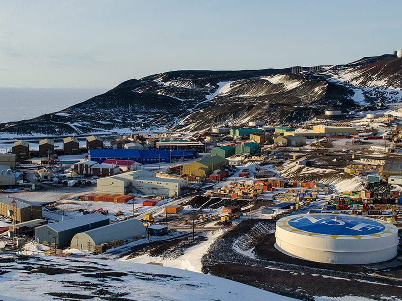 An aerial view of the National Science Foundation's McMurdo Station in Antarctica. Photo: NSF