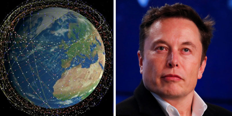 An illustration showing around 4,400 satellites in SpaceX's Starlink constellation and SpaceX founder Elon Musk at a news conference in March. Photo: Mark Handley/University College London/Reuters/Mike Blake/Business Insider