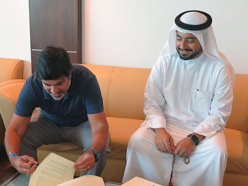 Thuraya CEO Ali Al Hashemi with Elcome Executive Director Jimmy Grewal. Photo: Thuraya