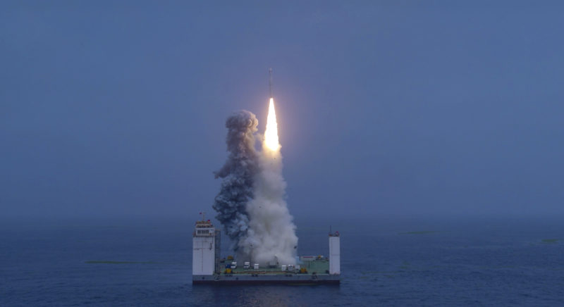 China's CZ-11 WEY launch vehicle lifting off from an offshore mobile platform. Photo: Business Wire