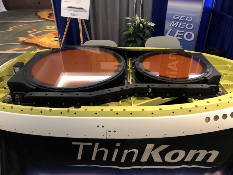 ThinKom's ThinAir antenna, on display at its 2019 Global Connected Aircraft Summit booth. Photo: Avionics