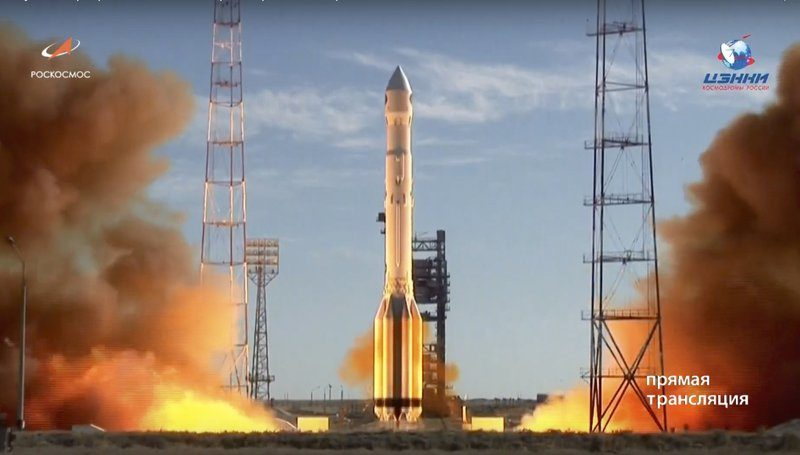 In this frame grab taken from video on Saturday, July 13, 2019, and distributed by Roscosmos Space Agency Press Service, a Russian Proton-M rocket takes off from the launch pad at Russia's space facility in Baikonur, Kazakhstan. Photo: Roscosmos Space Agency Press Service photo via AP
