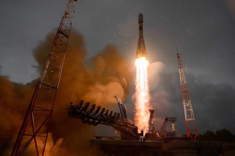 A Russian Soyuz rocket lifting off, carrying the Meridian satellite. Photo: Roscosmos