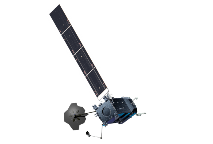 Dragonfly assembles the Restore-L spacecraft's antenna while on-orbit. Photo: Maxar