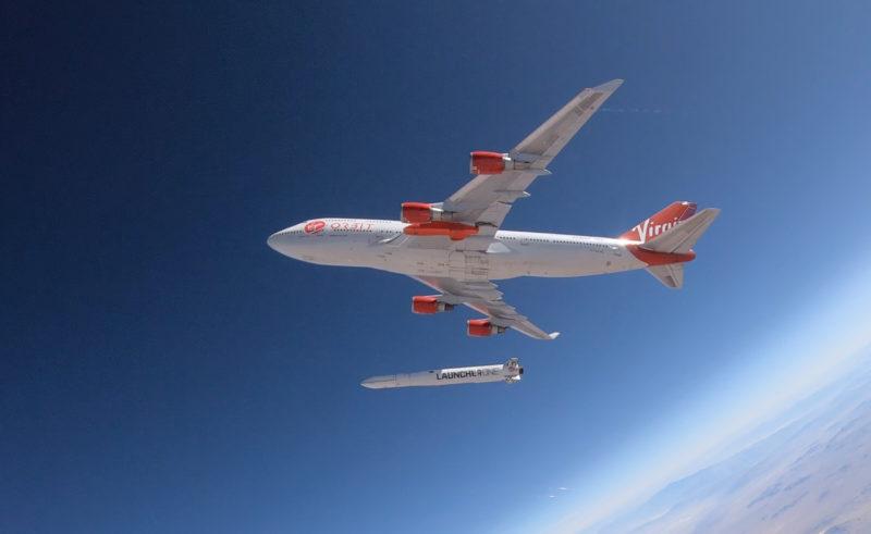 Drop shot from the Virgin Orbit test. Photo: Tech Crunch